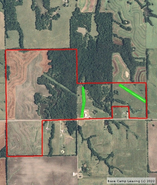 Aireal picture, the green strips are the corn food plots left in all year. You can also see the power lines in the middle of picture. The far west side of property is all beans including the 40 acres south of highway.