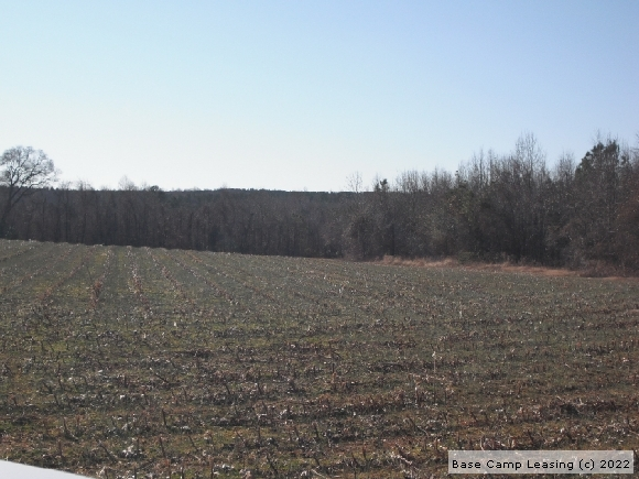 Road to Field View of annual hunting lease in Nash County, NC.